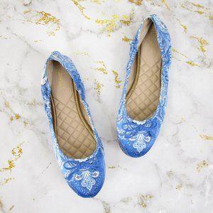 J. McLaughlin Blue Leather Mercer Ballet Flats 11